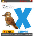 letter x from alphabet with cartoon xenops bird vector image vector image