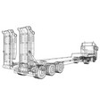 low bed truck trailer abstract drawing wire vector image