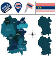 map of kuala lumpur with districts vector image