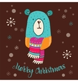 Merry Christmas - cute bear with lettering vector image