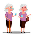 modern old woman with a glass in her hand vector image vector image
