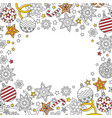 new year background with doodle snowflakes fir vector image vector image