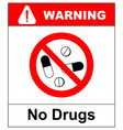 no pills sign isolated on white background vector image vector image