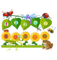 number one to ten on leaves and flowers vector image