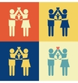 Parents icon with kid on their arms vector image vector image