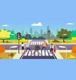 people walking on city street crosswalk urban vector image