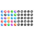 popular social media modern 3d and flat round vector image vector image