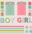 scrapbook baby girl and boy set vector image vector image