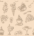 seamless coffee doodles abstract pattern vector image