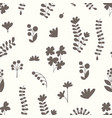 seamless pattern with floral silhouettes vector image vector image