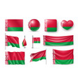 set belarus flags banners banners symbols flat vector image vector image