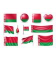 set belarus flags banners banners symbols flat vector image