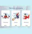 set mobile app pages service company about vector image vector image