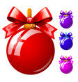 set multicolored christmas balls with bowknots vector image