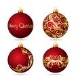 Set of Red Christmas balls on white background vector image