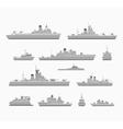 Set warships vector image vector image