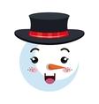 snowman happy face cartoon vector image vector image
