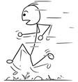 stickman cartoon of fast running man vector image