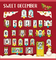 sweet december calendar with dates and traditional vector image vector image
