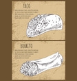 taco and burrito on vintage background poster vector image