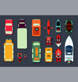 transport icon set top view of cars bikes and vector image