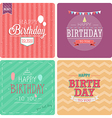 Vintage card - Happy birthday set vector image