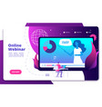 webinar landing online webinars conference vector image vector image