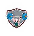 Weightlifter Lifting Barbell Shield Cartoon vector image vector image
