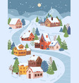 winter christmas landscape at night cottage houses vector image vector image