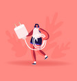 woman carry cellphone charger wire for charging vector image