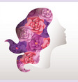 woman with roses hair to celebrate womens day vector image vector image