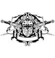 crossed swords and helmet vector image