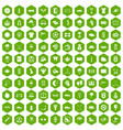 100 golf icons hexagon green vector image