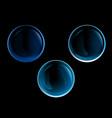 3d transparent blue glossy soup bubble set
