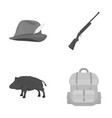 A hunting hat with a feather a wild boar a rifle