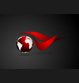Abstract technical logo with dark globe vector image vector image