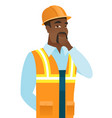 african-american builder thinking vector image vector image