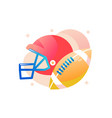 american football helmet with ball vector image vector image