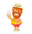 Bearded Man with Ice Cream on the Beach vector image vector image