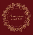 beige burgundy outline roses wreath vector image
