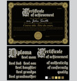 black and gold certificate guillochetemplate vector image vector image