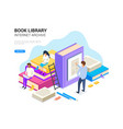 book library isometric internet archive concept vector image vector image
