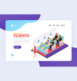 booking air tickets isometric landing page vector image vector image