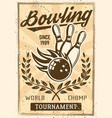 bowling vintage poster with burning ball skittles vector image vector image