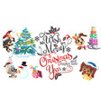 cartoon sign we wish you merry christmas and happy vector image