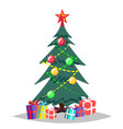 christmas tree cartoon isolated winter vector image vector image