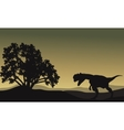 Dilophosaurus in hills scenery silhouette vector image vector image