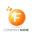 f letter splash orange dots and circle bubble vector image vector image