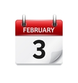 February 3 flat daily calendar icon date