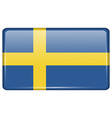 Flags Sweden in the form of a magnet on vector image vector image